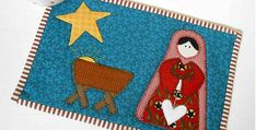Nativity Mug Rug Reflects the True Meaning of The Season - Quilting Digest Plastic Canvas Tissue Boxes, Plastic Canvas Patterns, Star Quilts, Mini Quilts, Mug Rug Patterns, Quilt Patterns, Christmas Nativity, Christmas Ideas, Christmas Projects
