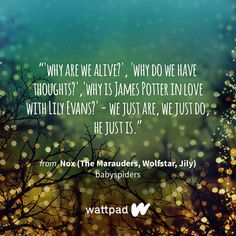 Nox (The Marauders, Wolfstar, Jily) - It's Remus' Time Of The Month Jily, Wattpad, Lily Evans, Wolfstar, Sharing Quotes, James Potter, Dream Quotes, Harry Potter Universal, The Marauders