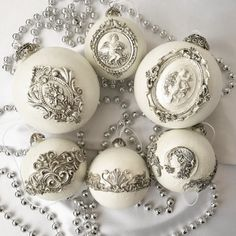 Your place to buy and sell all things handmade Vintage Christmas Balls, Victorian Christmas Decorations, Elegant Christmas Decor, Christmas Balls Decorations, Antique Christmas Ornaments, Shabby Chic Christmas, Christmas Baubles, Christmas Christmas, Vintage Ornaments