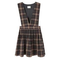 True preppy fashion can be achieved with this plaid suspenderdress.A defining piece that you can easily put on plain tops and shirts.  -Plaid -Deep v-neckline -Sleeveless -Pleat detail -Lined