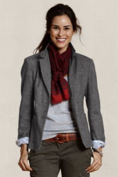 There are elbow patches. Women's Wool Hunting Jacket from Lands'… Tomboy Outfits, Tomboy Fashion, Casual Outfits, Tartan, Work Wardrobe, Look Chic, Burberry, Casual Chic, Fit And Flare