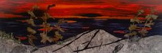 Fabric collage, machine stitched, mounted on canvas. Designed and created by Chris Allaway 12x24 Collage, Sunset, Canvas, Fabric, Painting, Design, Art, Tela, Tejido