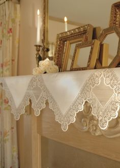 Beautiful and versatile this Prelude Mantle Scarf is edged with delicate lace and has a crisp, clean look! #decor #vintage