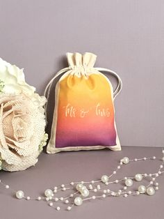 Personalized Mr and Mrs Favor Bag for Bachelorette Party, Wedding, Bridal Shower, Party Favor Goodie Pouch-Drawstring Cotton Muslin by SpanishVelvet on Etsy