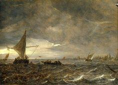 Jan van Goyen : Fishing Boats in an Estuary at Dusk (National Maritime Museum - London (United Kingdom - Greenwich)) 1596-1656 ヤン・ファン・ホーイェン