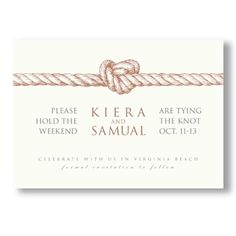 Vera Wang Knot Save the Date Cards... way too expensive, but I could probably use the idea and draw up my own ;)