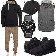 Herren-Style mit Solid Hoodie, Weste und Fossil Uhr (m0942) #hoodie #jogginghose #nike #fossil #weste