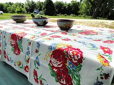 Vintage table cloth.....*sigh*  Beautiful Vintage 1950's Floral Tablecloth with Red by FarmGarl