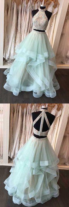 Two Piece High Neck Floor-Length Open Back Mint Organza Prom Dress PG551 #promdresses #dresses #pgmdress #organza