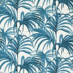 Palmeral Cotton Linen Fabric - White/Azure