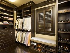 Man Closet with a window. Great idea for natural airflow and ventilation