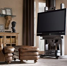 RH's TV Easel:We discovered an inventive use for the artist& easel, whose sturdy construction and height-adjustable design have been refined over centuries. Living Room Tv, Apartment Living, Home And Living, Studio Apartment, Easel Tv Stand, Attic Bedroom Decor, Tv Stand Plans, Beach House Decor, Home Decor