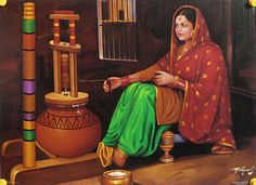 Indian painting is a form of Indian art. Indian paintings provide an aesthetic continuum that extends from the early civilization to the pre. Indian Women Painting, Indian Art Paintings, Classic Paintings, Oil Paintings, Indian Artwork, Nature Paintings, Art Village, Indian Village, Indian Folk Art