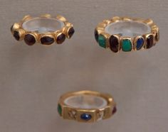 GOLD FINGER RINGS WITH STONES, ROMAN 3RD CENTURY