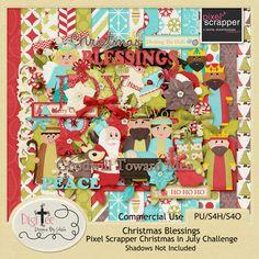 DigiTee Designs By Sheila: Christmas Blessings-Pixel Scrapper Christmas In July Challenge Kit Freebie!!