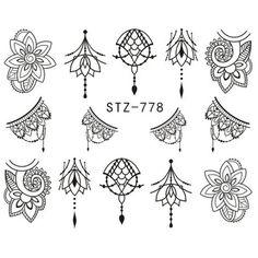 Black White Water Sticker For Nail Art Classic Design Slider Lace Flora Feather Decor Tips Decal Manicure - Lotus flower tattoo Tattoo Fairy, Kritzelei Tattoo, Finger Henna, Nail Patterns, Henna Patterns, Nail Art Stickers, Nail Decals, Nail Art Stencils, Zealand Tattoo