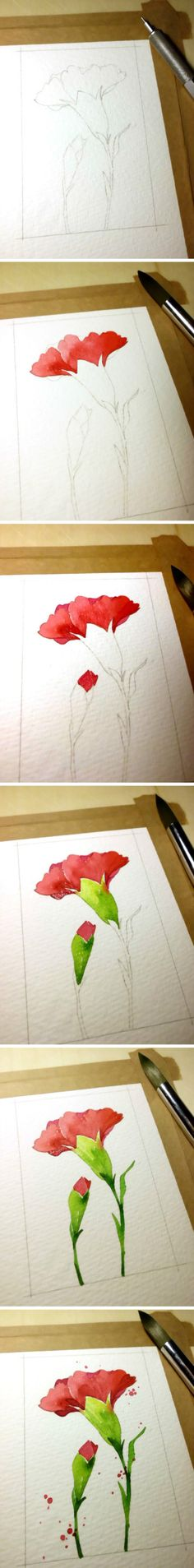 step by step watercolor tutorial_carnation