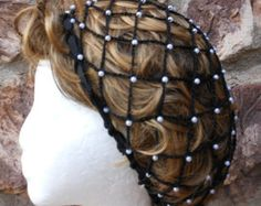 Renaissance or Victorian Beaded Black Snood Hairnet  With Pearl Beads