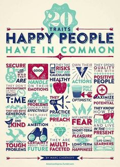 20 Traits happy people have in common. www.familyfull.com