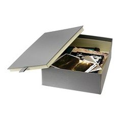 "PALLRA Box with lid - gray, 10 ¾x8 ¾x3 ½ "" - IKEA $6.99 ea great box to store pictures, and important paper work. Need to find a way to label the box though."