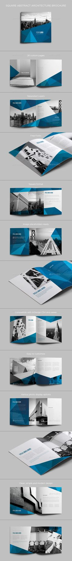 Square Abstract Architecture Brochure - Brochures Print Templates