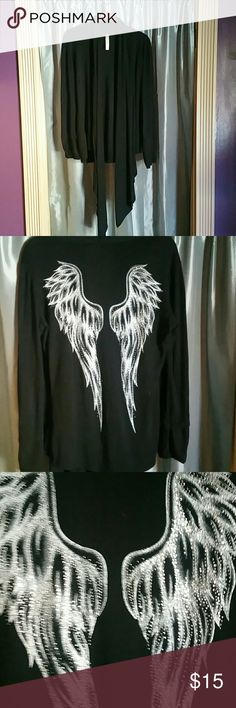ADORABLE GENTLY USED CARDIGAN BLINGY ANGEL WINGS ON THE BACK s-twelve Sweaters Cardigans