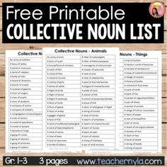 Collective Nouns List - A free downladable printable for teachers Free Teaching Resources, Writing Resources, Teaching Ideas, School Forms, Collective Nouns, 2nd Grade Reading, New Things To Learn, Learning Centers, Free Reading