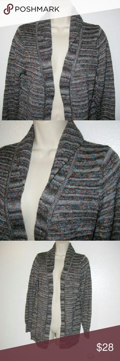 """Open front cardigan M B. Ballinger..d- Folded shawl collar Medium knit in a multitude of shades of gray, tan, rust, brown.. Measures 20"""" across back and is 27"""" long Babette Ballinger Sweaters Cardigans"""