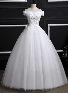 Off Shoulder Wedding Gowns, Pretty White Sweet 16 Dresses, Formal Gown – BeMyBridesmaid Quincenera Dresses White, White Quince Dresses, Cute Formal Dresses, Sweet 16 Dresses, 15 Dresses, Formal Gowns, Evening Dresses, Fashion Dresses, Pageant Dresses