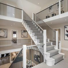 Another view from a different perspective of the stunning triple aspect staircase at our clients Mulberry project Staircase Design Modern, Staircase Railing Design, Luxury Staircase, Home Stairs Design, Grand Staircase, Staircase Landing, Staircase Ideas, Modern Entrance, House Entrance