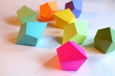 I responded so positively to this I had to share. I was facinated with anything faceted when I was a kid. Loved playing in Nana's jewelry (Diamonds were a kids best friend).  DIY Geometric Paper Ornaments  Set of 8 by FieldGuideDesign, $24.00