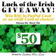 Southern Mom Loves: Win $50 of Choice in the Luck of the Irish Giveaway Event! Ends 3/10