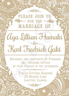 Vintage Lace, Printable Wedding Invitation : 2 colorways available, gold/white and blush/gray! : 5x7 Romantic Cottage Victorian Rustic Elegant Old Fashioned Typography : cyanandsepia.etsy.com