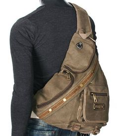 Amazon.com: JS-Plus Men's Rugged Military-style Single-shoulder Crossbody Canvas Backpack - Khaki Tan: Shoes