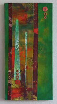 Abstract fabric and paint collage, by Judi Hurwitt