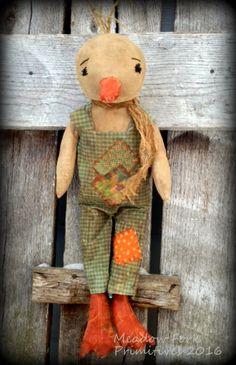 Primitive Folk Art Duck Doll--Cooper--Easter-Spring-Handcrafted-Farmhouse-Hafair Team, FAAP by MeadowForkPrims on Etsy
