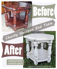 Before & After - Chunky hexagon End Table in Off White with Espresso Glaze. From Facelift Furniture.
