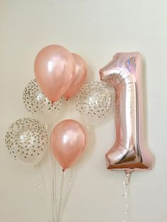 Rose Gold & Clear Gold Confetti Latex Balloon With Jumbo Rose Gold One (1)~First Birthday Rose Gold~1 Balloon~One Balloon~Rose Gold Balloon