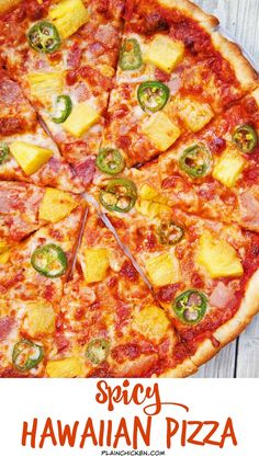 Spicy Hawaiian Pizza - quick homemade pizza that tastes better than any pizza restaurant! Use leftover holiday ham! Everyone loved this flavor combination! Gets a kick from the jalapeños. by lea Ham Pizza, Spicy Pizza, Pizza Menu, Dessert Pizza, Vegan Pizza, Vegan Vegetarian, Pizza Restaurant, Ham And Pineapple Pizza, Pizza Special