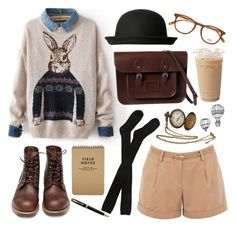"""Rabbit"" by hanaglatison ❤ liked on Polyvore featuring Oasis, Hansel from Basel, Red Wing, Monki and Garrett Leight"