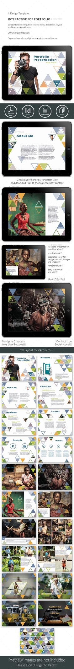 Interactive Pdf Triangle Photographer Portfolio Template Indesign Indd Here Https