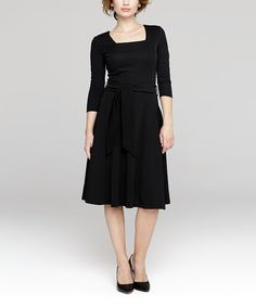 Another great find on #zulily! Black Tie-Front Square Neck Dress #zulilyfinds