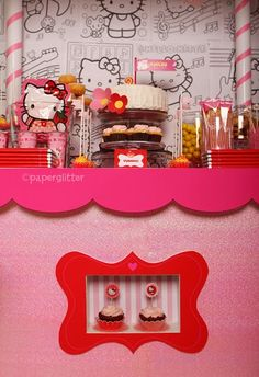 Hello Kitty Birthday Party: The Details - Paper Glitter Hello Kitty Theme Party, Hello Kitty Themes, Hello Kitty Cake, Hello Kitty Birthday, Cat Party, Party Kit, Party Ideas, Ideas Cumpleaños, Party Themes