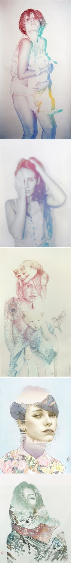 Spanish born, London-based artist Oriol Angrill Jordà. The first three pieces above were done using only colored pencils. The final two pieces are colored pencil and watercolor.