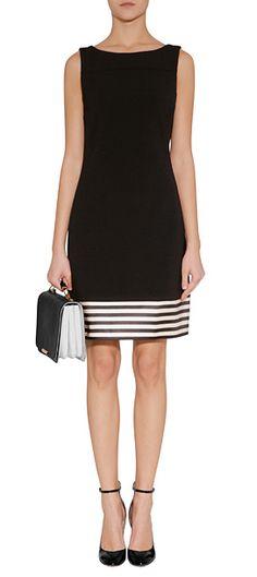 THE LOOK | Designer look with 'Black Sheath Dress with Satin Trim' by Jil Sander Navy | Luxury fashion online | STYLEBOP.com