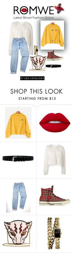 """Romwe sweater 😍"" by lexiepink21 ❤ liked on Polyvore featuring Lime Crime, IRO, Giamba, Converse, STELLA McCARTNEY, Chanel, Lana, Girls, swag and romwe"