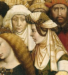 The woman on the left wears a frilled-edge veil, and the one on the right wears a padded roll with veil, and braided hair. Robert Campin, The Berothal of the Virgin (detail), ca. 1420. Museo del Prado, Madrid