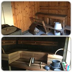 Sauna at my villa when I bought it and after slight renovation. I kind a like the new more.