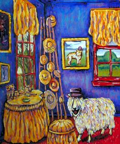 SHEEP art PRINT abstract animal folk JSCHMETZ hat shop *GIFT modern