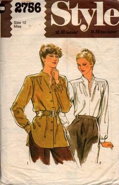 patterns for women Old Scool, Vintage Sewing Patterns, Blouses For Women, 1980s, Kimono, Vintage Fashion, Buttons, Google Search, Style